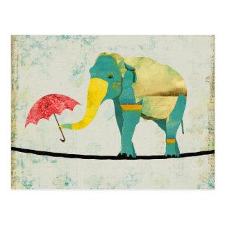 Goldene würdevolle Elefant-Postkarte Postkarte
