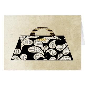 Goldene Zeitungs-Druck-Handtaschen-Karte Grußkarte