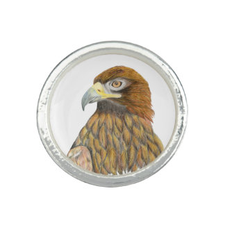 Goldener Adler-Vogel-Wasserfarbe-Malerei-Grafik Ring