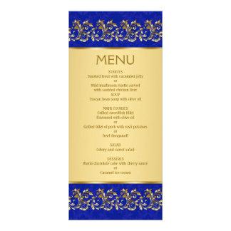 Goldener belaubter Wirbel auf blauer Menü-Karte Werbekarte