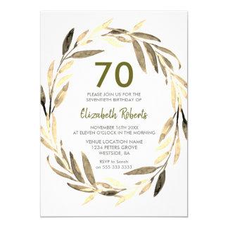Goldener Blattwreath-70. Geburtstags-Party Karte