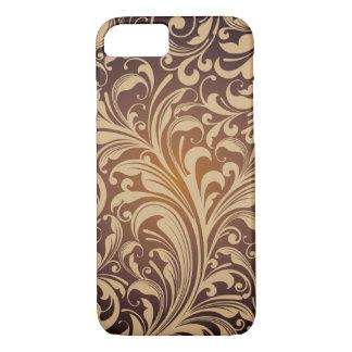 Goldener Blumenmuster-Kasten iPhone 8/7 Hülle