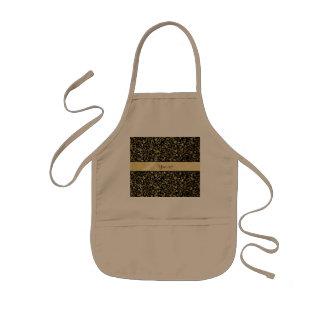 Goldener BlumenSchnörkel u. Wirbels-Schwarzes Kinderschürze
