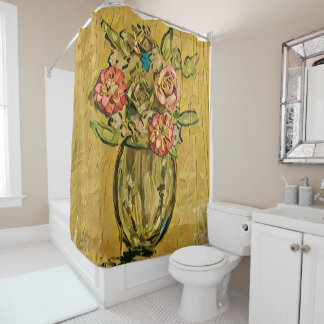 Goldener Blumenstrauß-Duschvorhang Duschvorhang