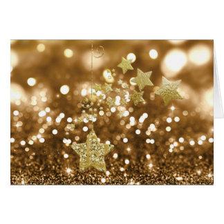 Goldener Bokeh Imitat-Glitter u. Sterne Karte