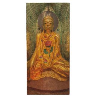 Goldener Buddha im Tempel Holz USB Stick
