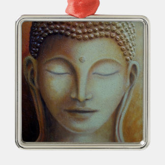 GOLDENER BUDDHA QUADRATISCHES SILBERFARBENES ORNAMENT