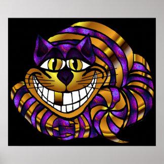 Goldener Cheshire-Katzen-Druck Poster