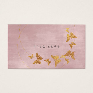 Goldener Confetti-Pulver-Rosa-Schmetterling Vip Visitenkarte