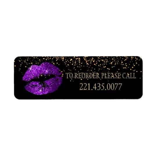 Goldener Confetti u. lila Lippen 2 - ordnen Sie Rücksendeetiketten