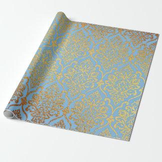 Goldener Damast-blauer Himmel königlicher Geschenkpapier