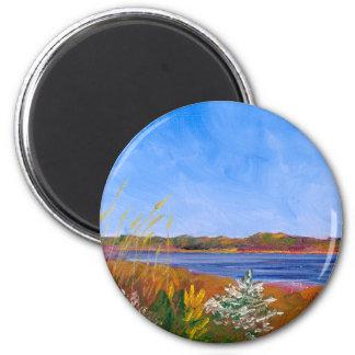 Goldener Delaware River Runder Magnet 5,7 Cm