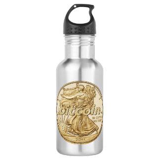 Goldener Dollar Bitcoin Cryptocurrency HODL lustig Trinkflasche
