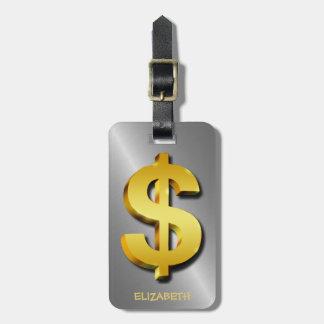 Goldener Dollar-funkelndes Zeichen-Geld-Symbol Kofferanhänger