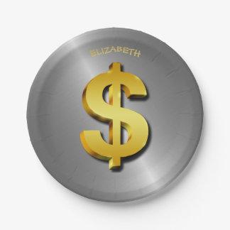 Goldener Dollar-funkelndes Zeichen-Geld-Symbol Pappteller