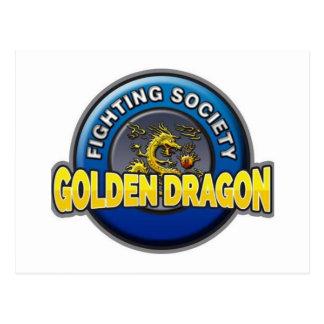 Goldener Drache-kämpfender Gesellschafts-Speicher Postkarte