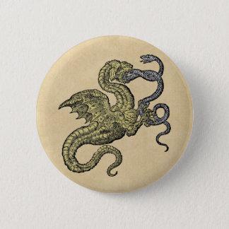 Goldener Drache und Schlange Runder Button 5,1 Cm
