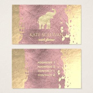 goldener Elefant auf Rosengoldfarbenanschlag Visitenkarte
