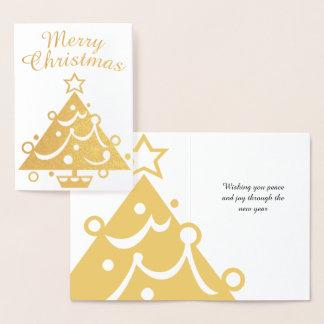 Goldener fröhlicher Weihnachtsbaum Folienkarte