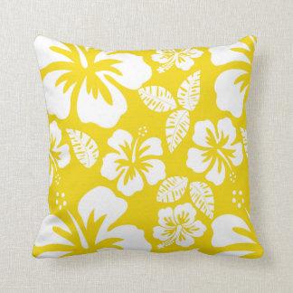 Goldener gelber hawaiischer tropischer Hibiskus Kissen