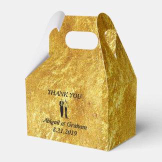 Goldener giebeliger Gastgeschenk Hochzeits-Kasten Geschenkschachtel