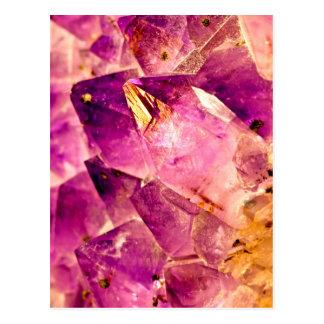 Goldener glänzender Amethyst Kristall Postkarte