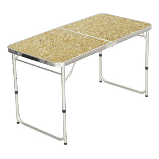 Goldener Glitter-Diamant Beer Pong Tisch