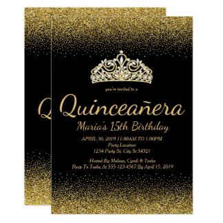 Goldener Glitter, Quinceanera Einladungen