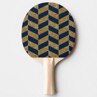 Goldener Glitter und dunkelblaues Streifenmuster Tischtennis Schläger
