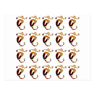Goldener GOODLUCK Juwel-Druck-Muster-Festival Postkarte