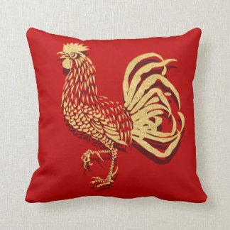 Goldener Hahn-Chinese Kissen