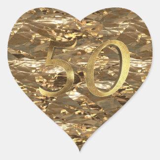 Goldener Hochzeitstag-elegantes Gold der Nr.-50 Herz-Aufkleber