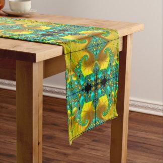 Goldener Kegel-Tabellen-Läufer-Esszimmer-Entwurf Kurzer Tischläufer