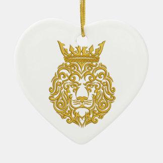 goldener Löwe in der Krone Keramik Ornament