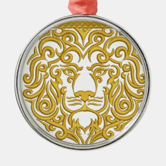 goldener Löwe in der Krone Silbernes Ornament