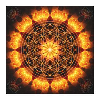 Goldener Mandala mit OM-Symbol und Blume des Leben Galerie Falt Leinwand