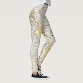 Goldener Marmor deckt Gamaschen mit Ziegeln Leggings