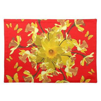 Goldener Narzissen-Schmetterlings-roter Tischset