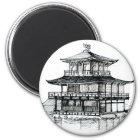 Goldener Pavillon Kinkakuji Kyoto.png Runder Magnet 5,1 Cm