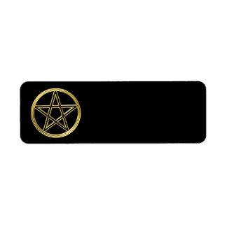 Goldener Pentagram Rückversand-Adressaufkleber