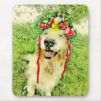 Goldener Retriever-Hund mit Blumen-KroneWatercolor Mousepad