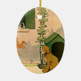 Goldener Retriever-und Jack-Russell-Terrier Keramik Ornament