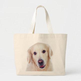 Goldener Retriever-Welpen-Hundehunde- Liebe-Tasche Jumbo Stoffbeutel