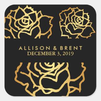 Goldener Rosen-Aufkleber - Schwarzes Quadratischer Aufkleber