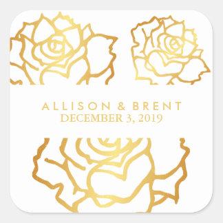 Goldener Rosen-Aufkleber - Weiß Quadratischer Aufkleber