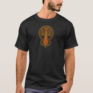 Goldener roter Gitarren-Baum des Lebens T-Shirt