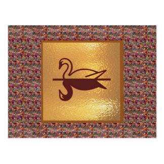 Goldener SCHWAN - frohe Feiertage Dekorationen Postkarten