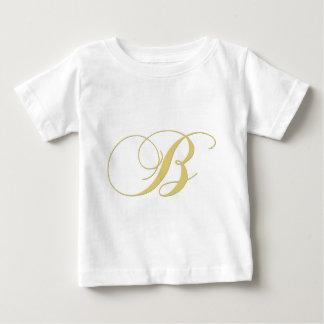 Goldener Single des Monogramm-Buchstabe-B Baby T-shirt