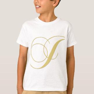 Goldener Single des Monogramm-Buchstabe-J T-Shirt