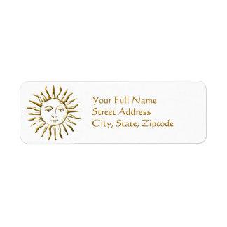 Goldener Sun-Adressen-Rückkehr-Aufkleber